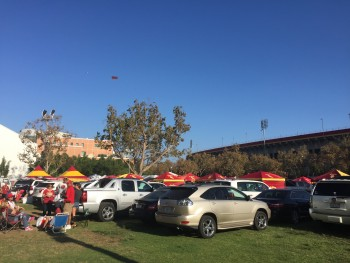 No ordinary carpark--each tent (in team colours) marks a different tailgate